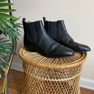 J. Crew Black Leather Pull On Chelsea Boots 8